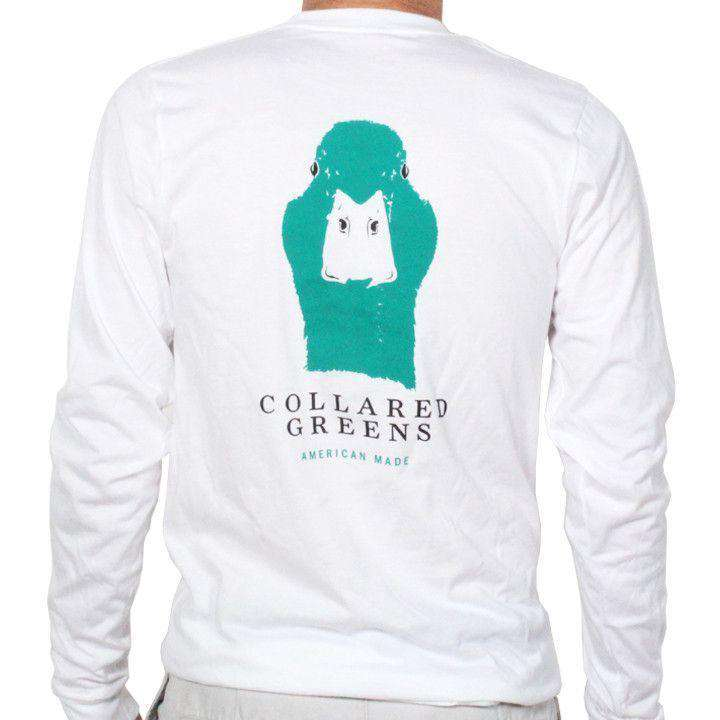 Men's Tee Shirts - American Made Long Sleeve Mallard Tee In White By Collared Greens