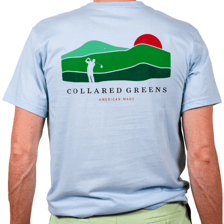 Men's Tee Shirts - American Made Mountain Golf Tee In Carolina Blue By Collared Greens