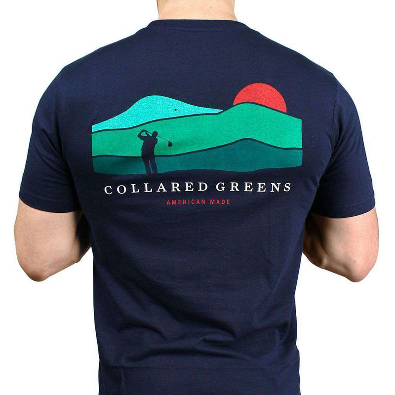 Men's Tee Shirts - American Made Mountain Golf Tee In Navy By Collared Greens