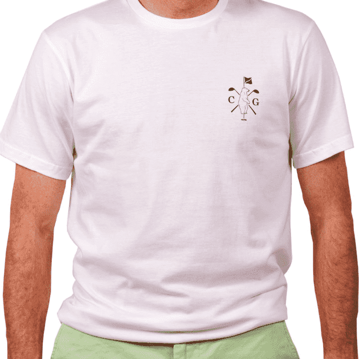 American Made Mountain Golf Tee in White by Collared Greens