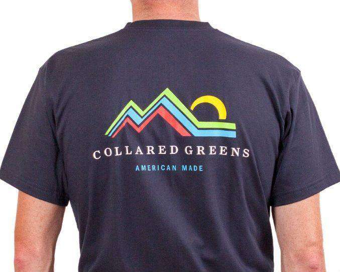 Men's Tee Shirts - American Made Mountain Tee In Navy By Collared Greens