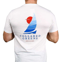 Men's Tee Shirts - American Made Sailboat Tee In White By Collared Greens