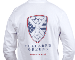 Men's Tee Shirts - American Made Shield Long Sleeve Tee In White By Collared Greens