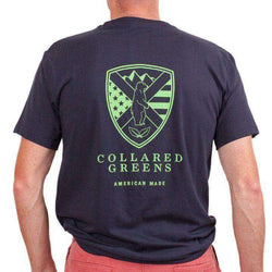 Men's Tee Shirts - American Made Shield Tee In Navy By Collared Greens