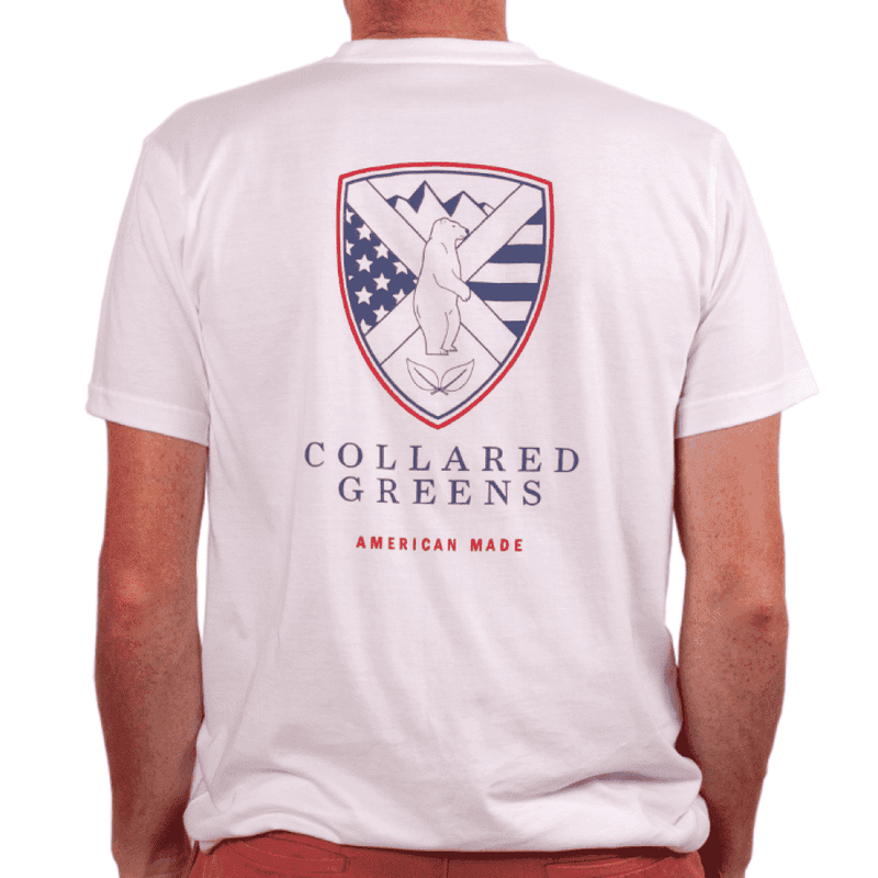 Men's Tee Shirts - American Made Shield Tee In White By Collared Greens