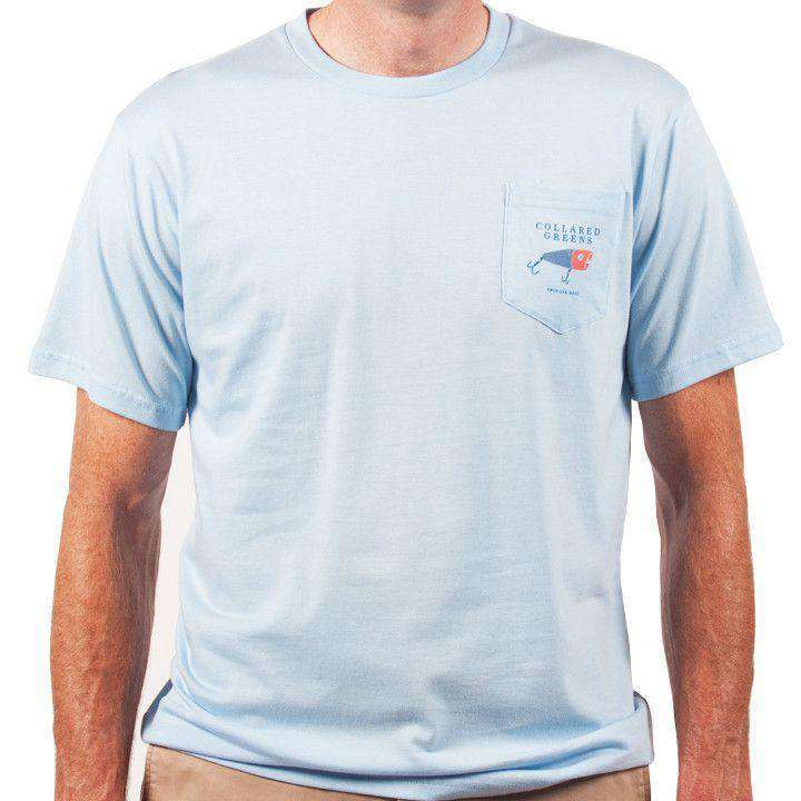 Men's Tee Shirts - American Made Striper Tee In Carolina Blue By Collared Greens
