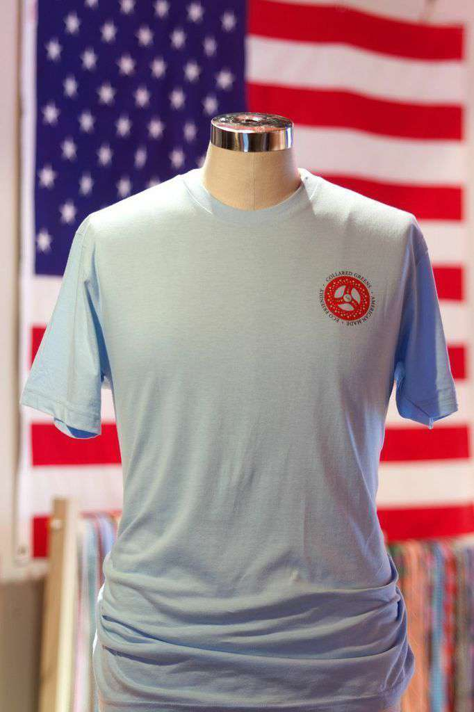 Men's Tee Shirts - American Made Trout Tee In Carolina Blue By Collared Greens