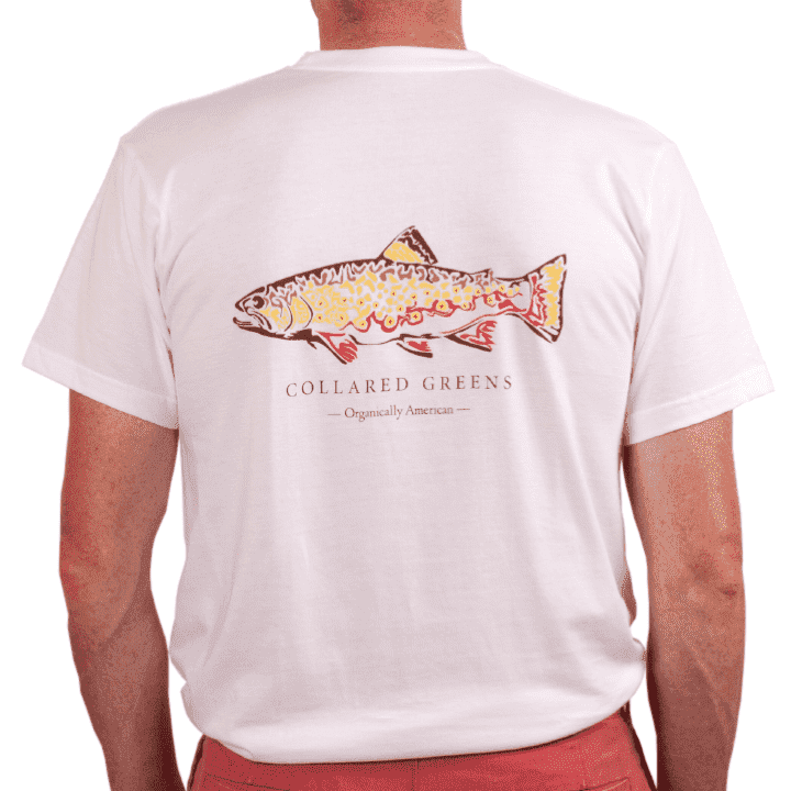 American Made Trout Tee in White by Collared Greens
