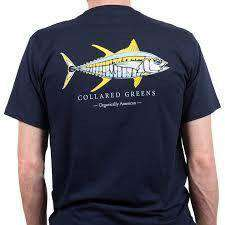 Men's Tee Shirts - American Made Yellow Fin Tee In Navy By Collared Greens