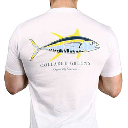 Men's Tee Shirts - American Made Yellow Fin Tee In White By Collared Greens