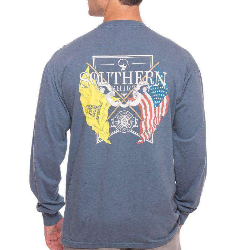 Men's Tee Shirts - American Pride Longsleeve Tee Shirt In Bering Sea By The Southern Shirt Co.