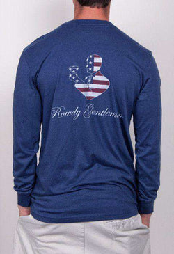 Men's Tee Shirts - American Toasting Man Long Sleeve Pocket Tee In Navy By Rowdy Gentleman