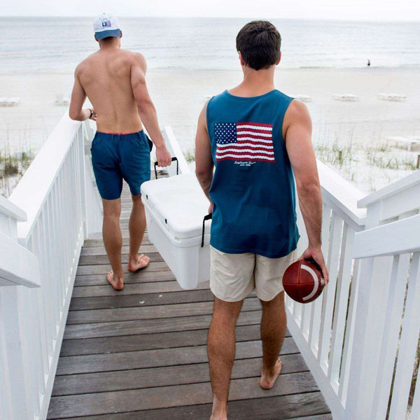 American Twine Pocket Tank Top in Indian Teal by The Southern Shirt Co. - FINAL SALE