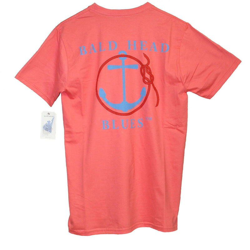 Men's Tee Shirts - Anchor Tee In Nantucket Red By Bald Head Blues