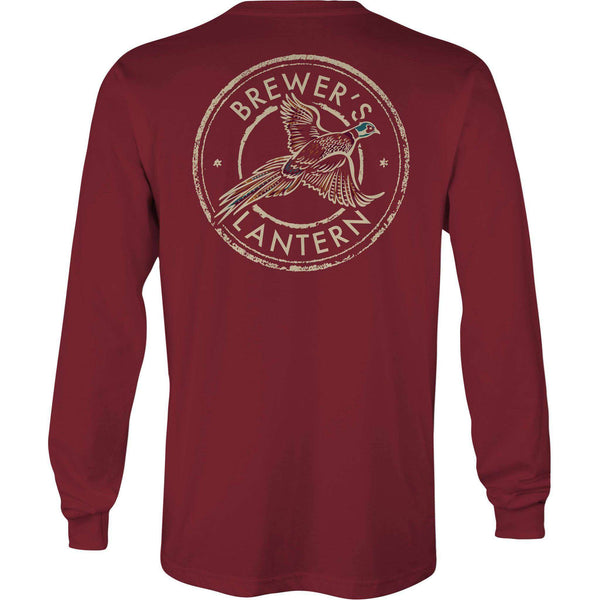 Arthur's Pheasant Long Sleeve Pocket Tee in Cranberry by Brewer's Lantern