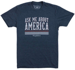Men's Tee Shirts - Ask Me About America Vintage Tee In Navy By Rowdy Gentleman