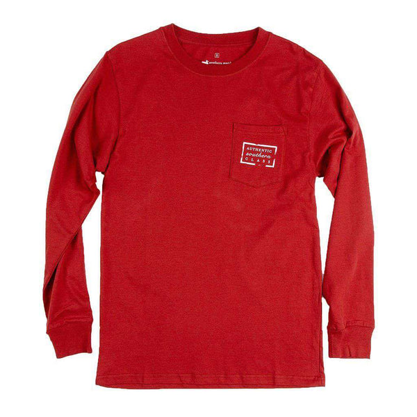 Men's Tee Shirts - Authentic Alabama Heritage Long Sleeve Tee In Crimson By Southern Marsh - FINAL SALE