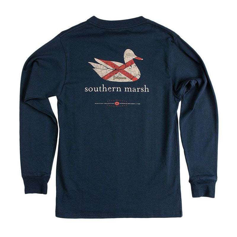 Men's Tee Shirts - Authentic Alabama Heritage Long Sleeve Tee In Navy By Southern Marsh