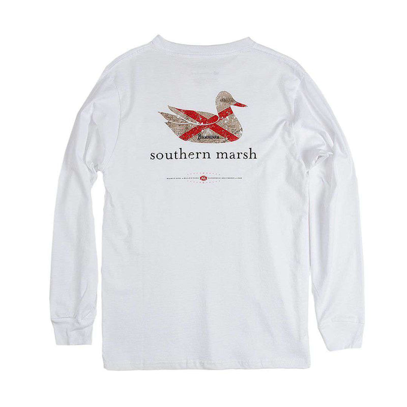 Men's Tee Shirts - Authentic Alabama Heritage Long Sleeve Tee In White By Southern Marsh
