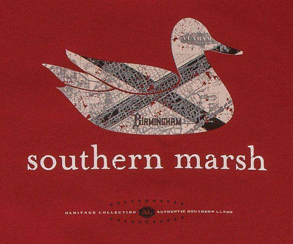 Men's Tee Shirts - Authentic Alabama Heritage Tee In Crimson By Southern Marsh