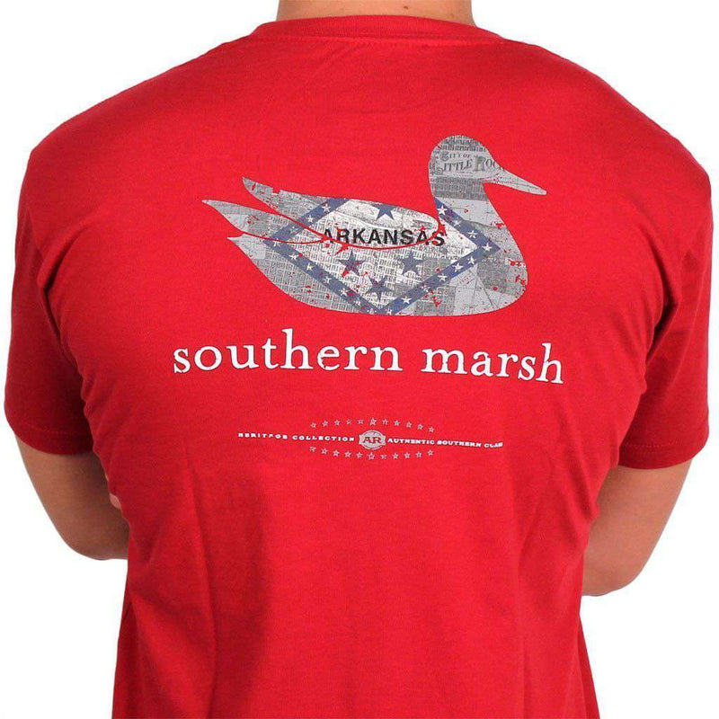 Men's Tee Shirts - Authentic Arkansas Heritage Tee In Crimson By Southern Marsh
