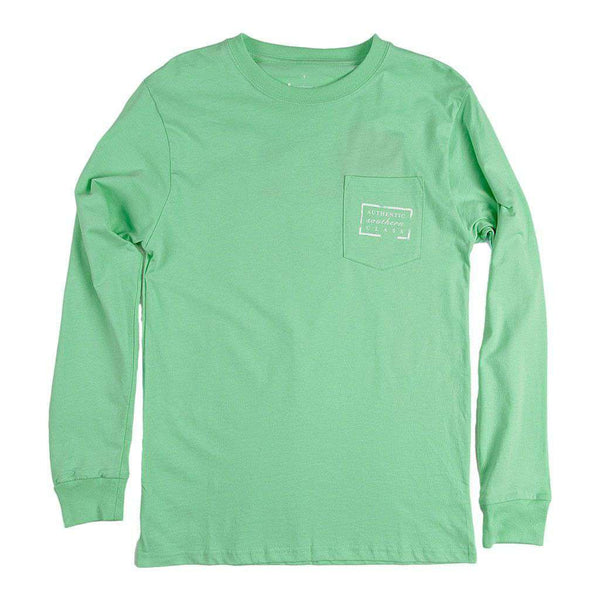 Men's Tee Shirts - Authentic Florida Heritage Long Sleeve Tee In Bimini Green By Southern Marsh