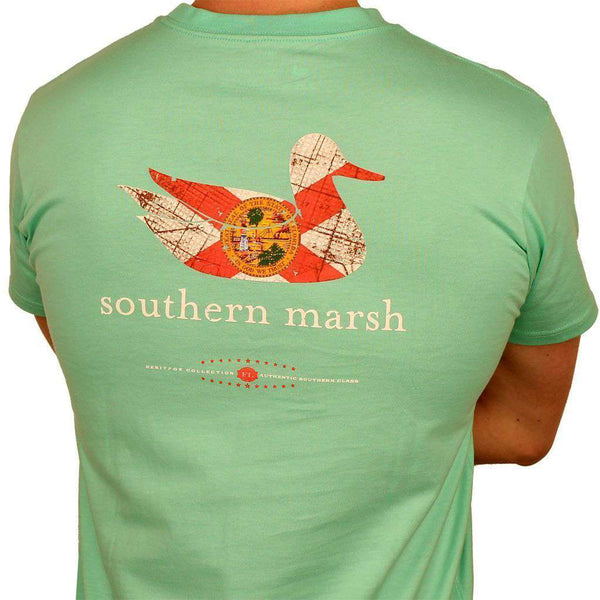 Men's Tee Shirts - Authentic Florida Heritage Tee In Bimini Green By Southern Marsh