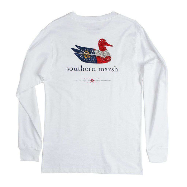 Men's Tee Shirts - Authentic Georgia Heritage Long Sleeve Tee In White By Southern Marsh - FINAL SALE