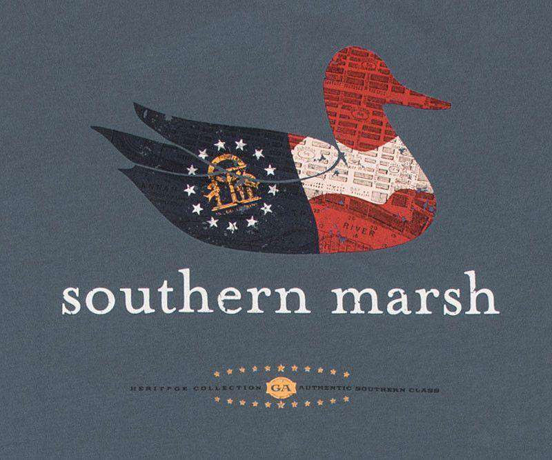 Men's Tee Shirts - Authentic Georgia Heritage Tee In Slate By Southern Marsh