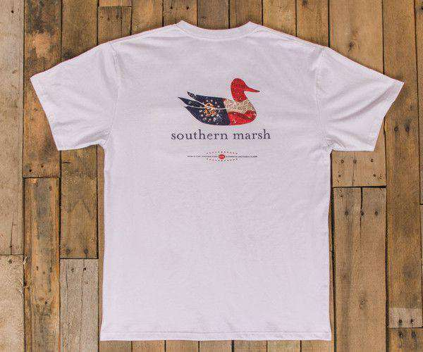 Men's Tee Shirts - Authentic Georgia Heritage Tee In White By Southern Marsh