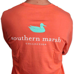Men's Tee Shirts - Authentic LONG SLEEVE Tee In Coral By Southern Marsh