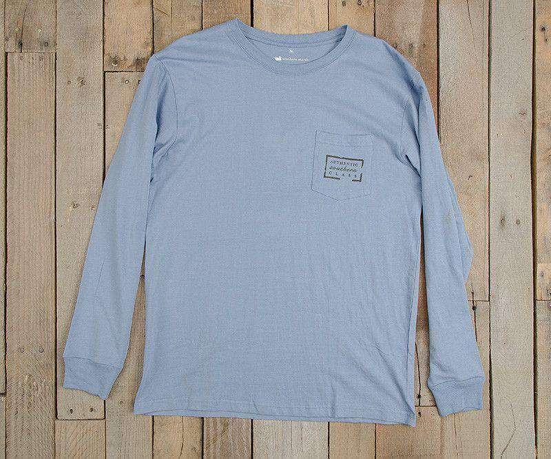 Men's Tee Shirts - Authentic Long Sleeve Tee In Light Blue By Southern Marsh