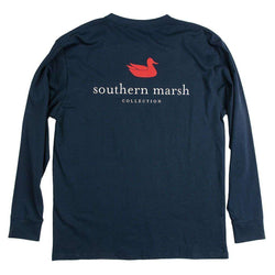 Men's Tee Shirts - Authentic Long Sleeve Tee In Navy By Southern Marsh
