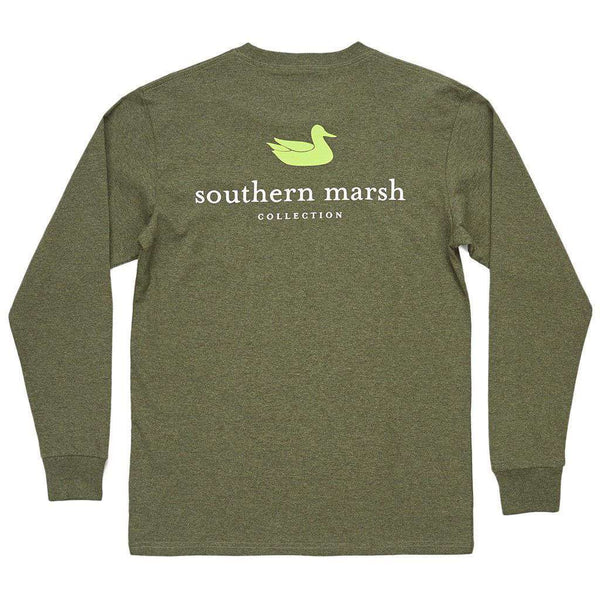 Men's Tee Shirts - Authentic Long Sleeve Tee In Washed Dark Green By Southern Marsh