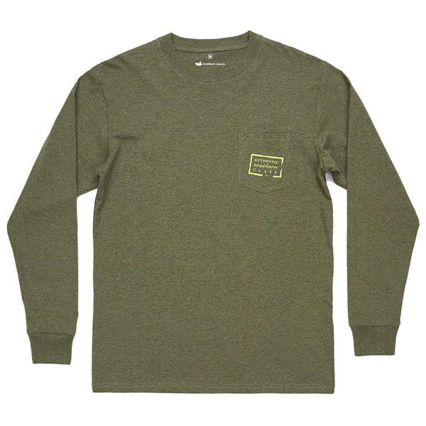 Authentic Long Sleeve Tee in Washed Dark Green by Southern Marsh