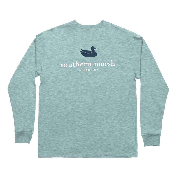 Men's Tee Shirts - Authentic Long Sleeve Tee In Washed Moss Blue By Southern Marsh