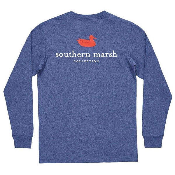Men's Tee Shirts - Authentic Long Sleeve Tee In Washed Navy By Southern Marsh