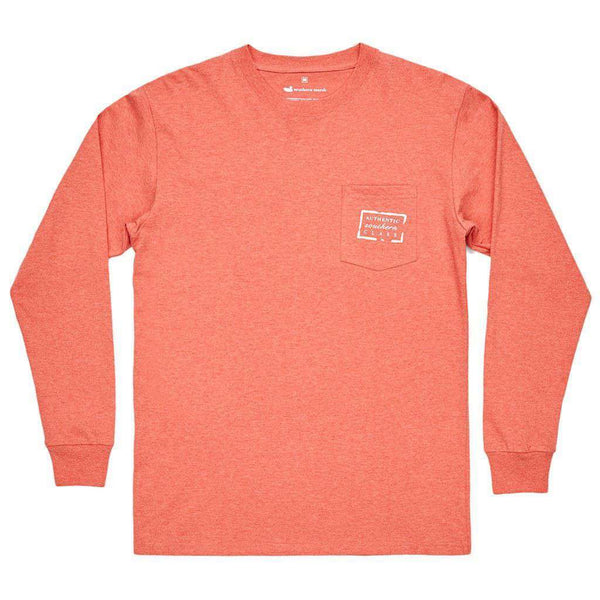 Men's Tee Shirts - Authentic Long Sleeve Tee In Washed Red By Southern Marsh