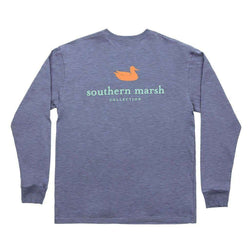 Men's Tee Shirts - Authentic Long Sleeve Tee In Washed Slate By Southern Marsh