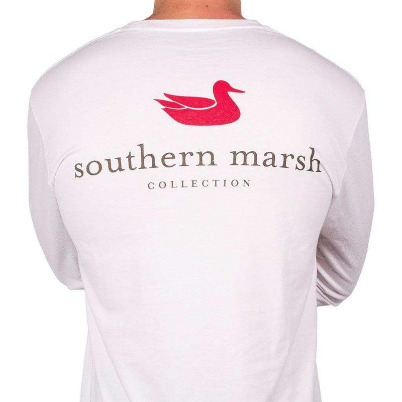Men's Tee Shirts - Authentic Long Sleeve Tee In White By Southern Marsh