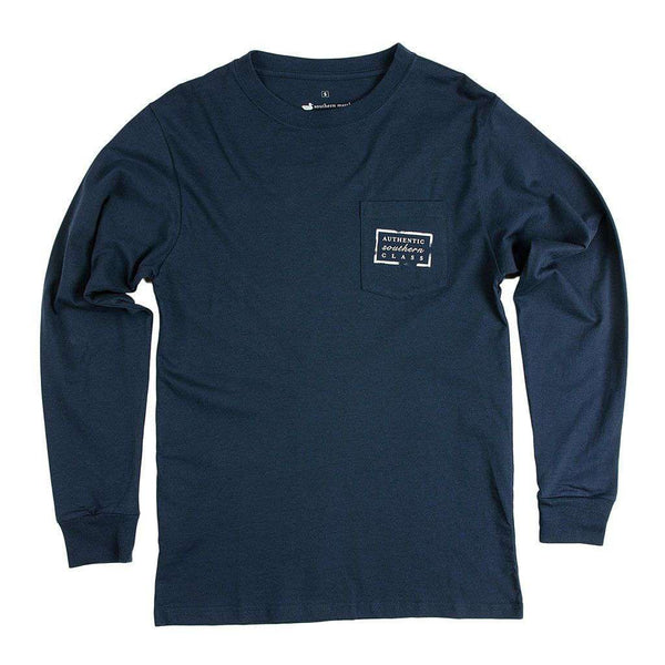 Men's Tee Shirts - Authentic Mississippi Heritage Long Sleeve Tee In Navy By Southern Marsh