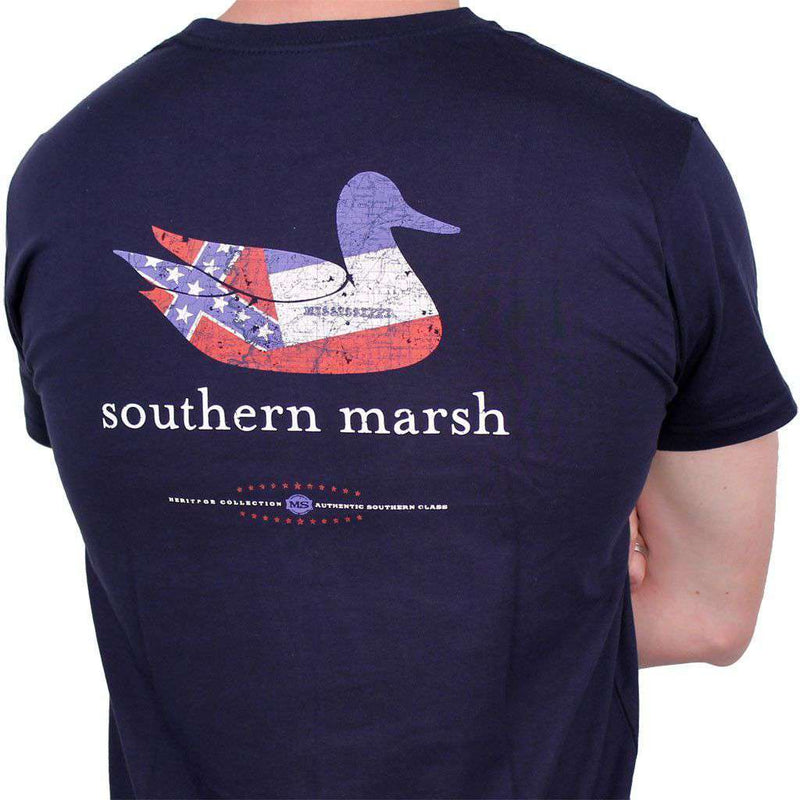 Men's Tee Shirts - Authentic Mississippi Heritage Tee In Navy By Southern Marsh
