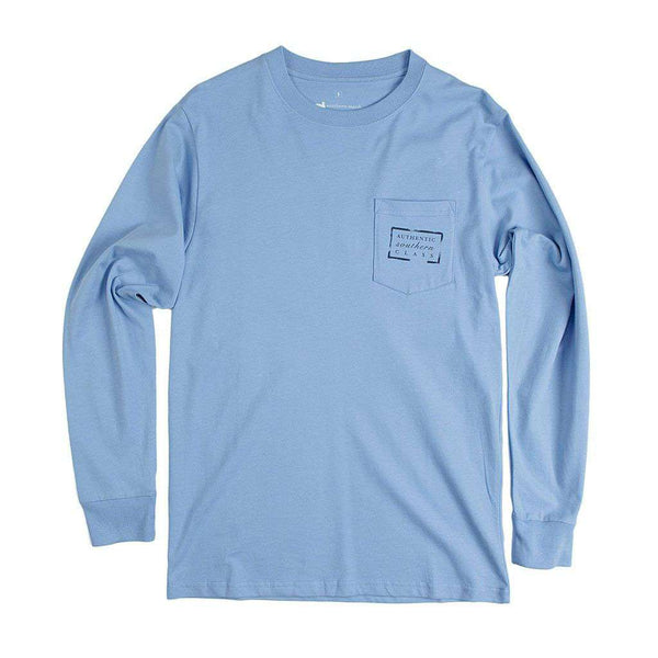 Men's Tee Shirts - Authentic North Carolina Heritage Long Sleeve Tee In Breaker Blue By Southern Marsh
