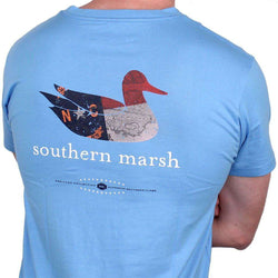 Men's Tee Shirts - Authentic North Carolina Heritage Tee In Breaker Blue By Southern Marsh