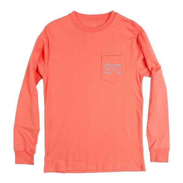 Men's Tee Shirts - Authentic South Carolina Heritage Long Sleeve Tee In Coral By Southern Marsh