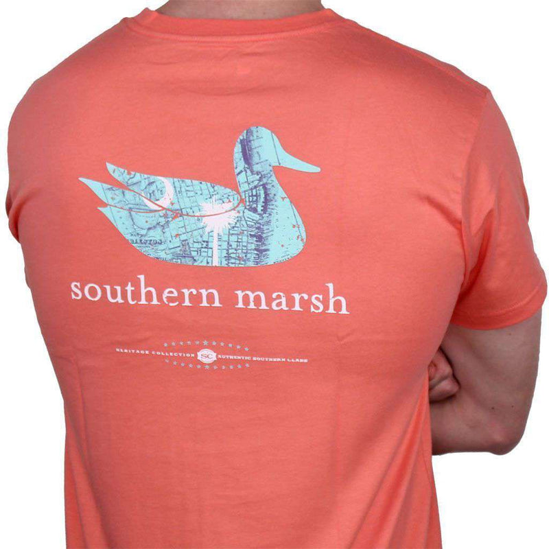 Men's Tee Shirts - Authentic South Carolina Heritage Tee In Coral By Southern Marsh