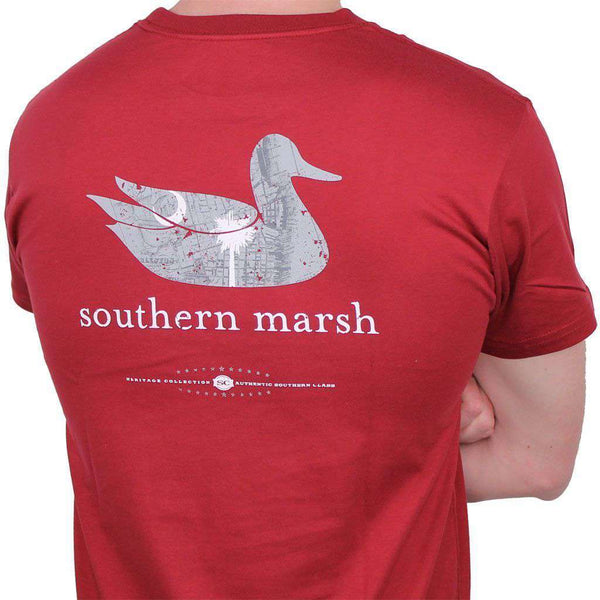 Men's Tee Shirts - Authentic South Carolina Heritage Tee In Maroon By Southern Marsh