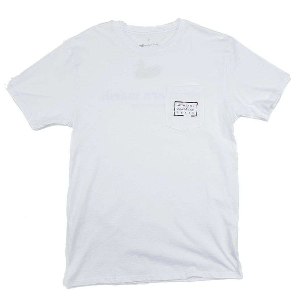 Men's Tee Shirts - Authentic Tee In White By Southern Marsh