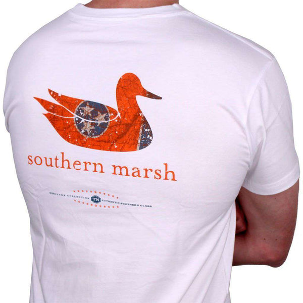 Men's Tee Shirts - Authentic Tennessee Heritage Tee In White By Southern Marsh
