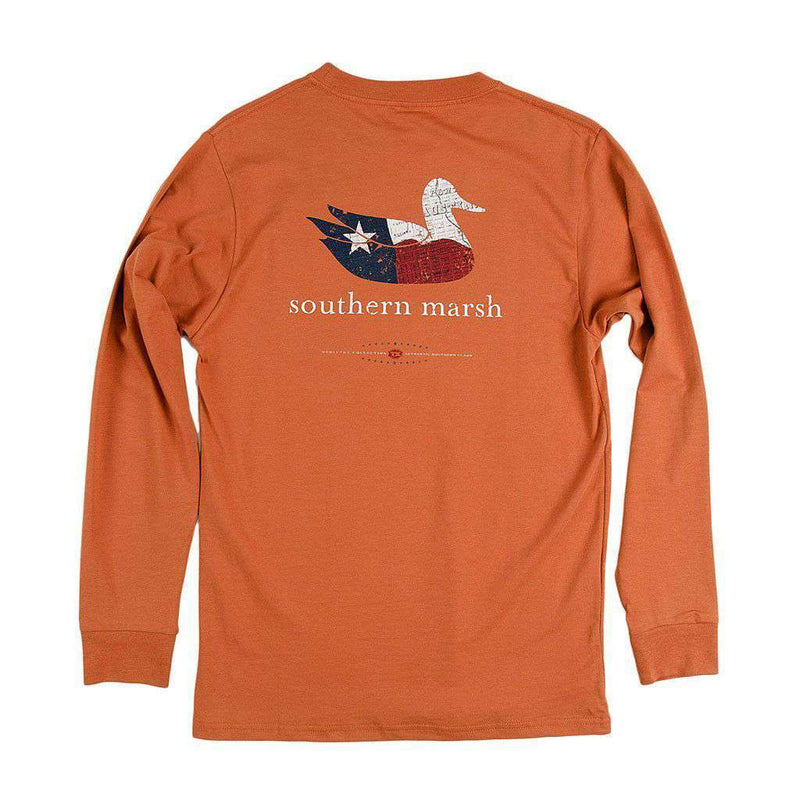 Men's Tee Shirts - Authentic Texas Heritage Long Sleeve Tee In Burnt Orange By Southern Marsh